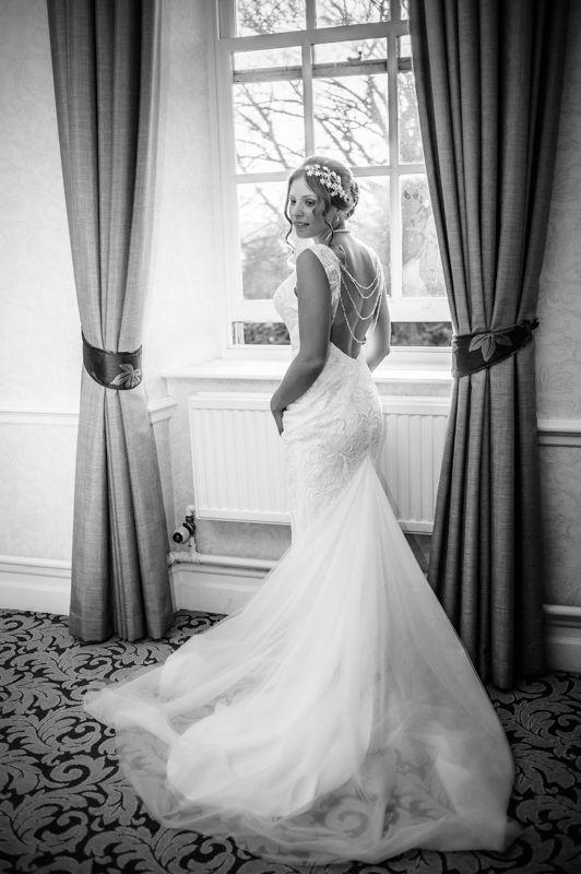 Amanda's backless wedding gown Hellaby Hall wedding photographers Rotherham