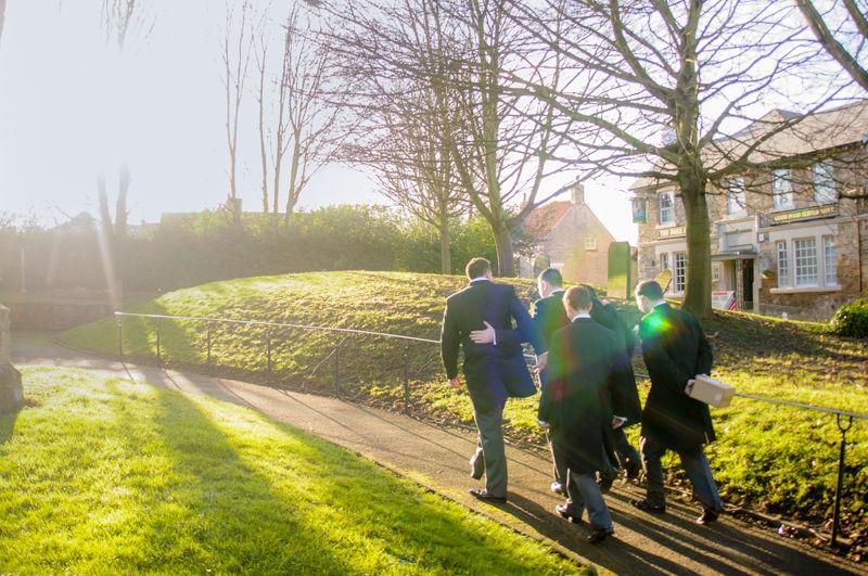 Groomsmen walking to church, Whiston