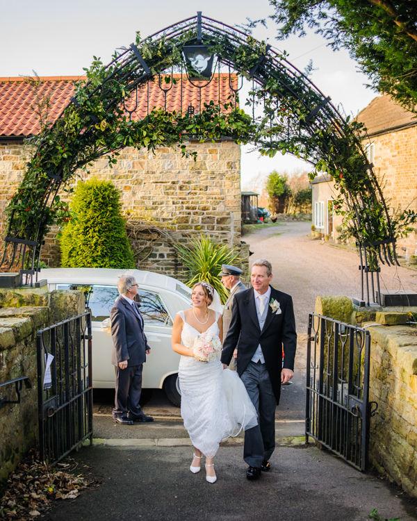 Amanda and Dad arriving at Whiston Church Rotherham
