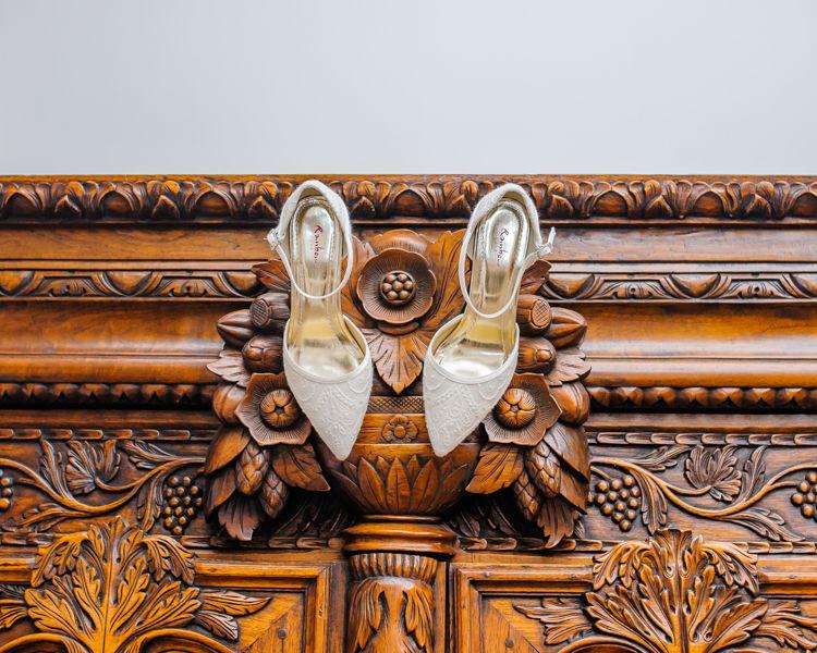 Wedding shoes Hellaby Hall wedding photographers Rotherham