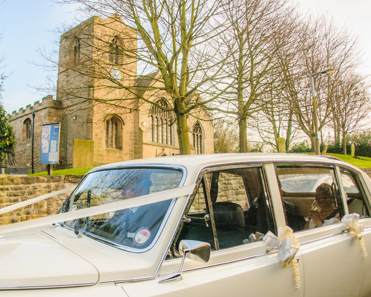Car leaving Whiston Church in Rotherham