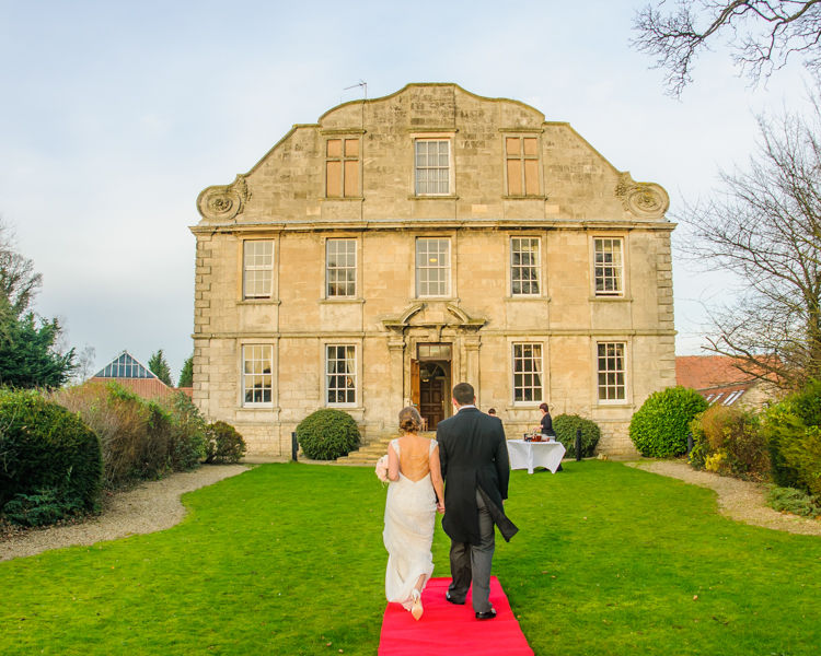 Hellaby Hall in Rotherham with bride and groom