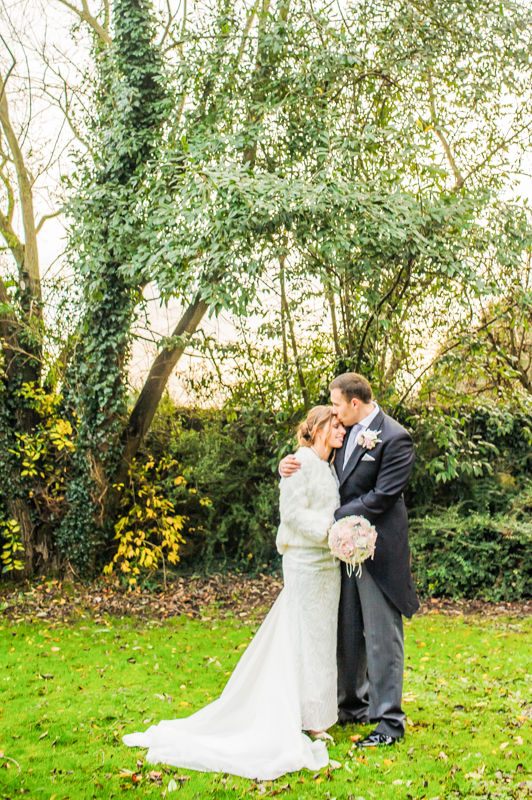 Bride and Groom portraits in Hellaby Hall grounds