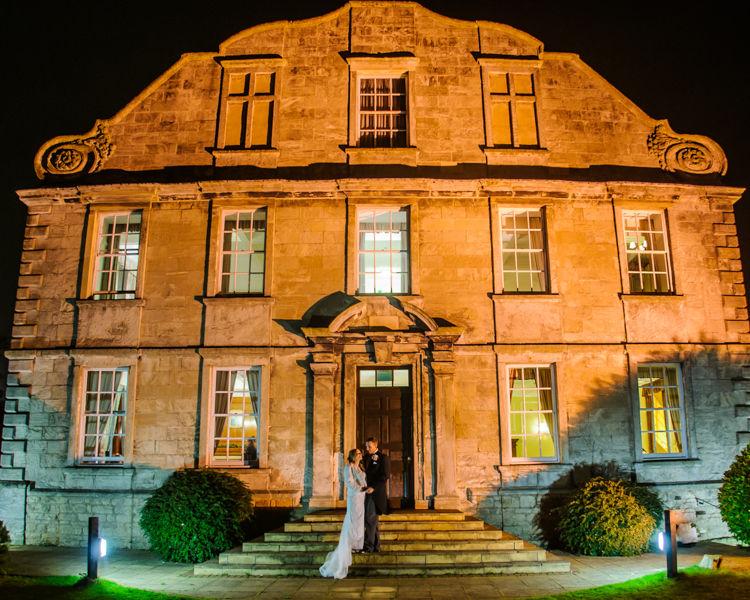 Nighttime portraits bride and groom, Hellaby Hall wedding photographers Rotherham