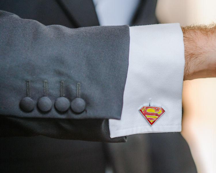 Groom superman cufflinks Hellaby Hall wedding photographers Rotherham