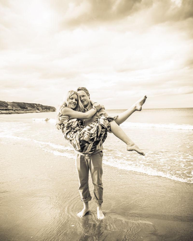 Holding up Rachel, beach tynemouth