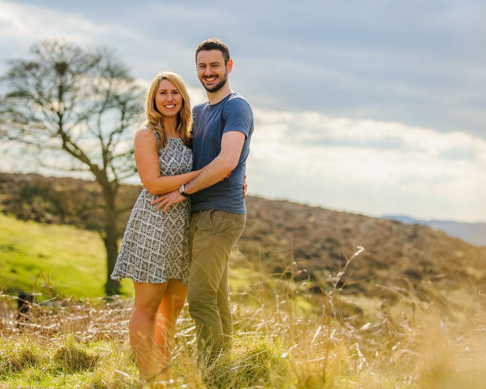 Spring sunshine, pre-wedding portraits, Peak District