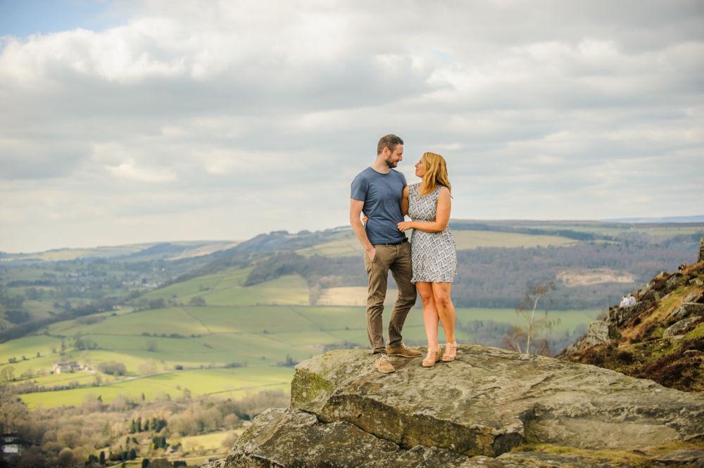 Curbar Edge, pre-wedding portraits, on top of rocks