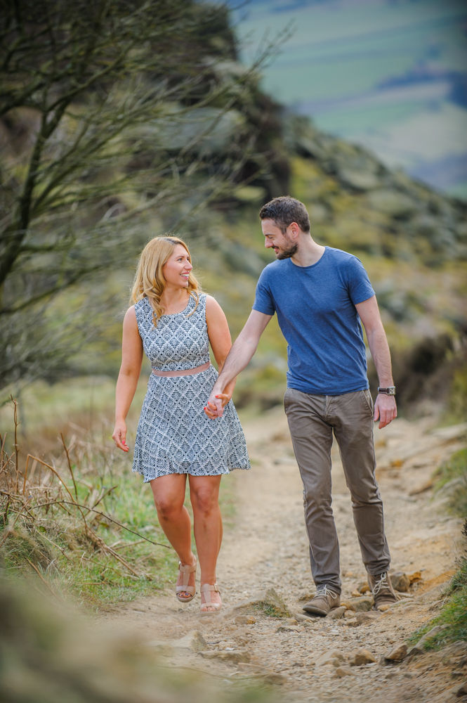 Pre-wedding photos, walking together, Curbar Edge