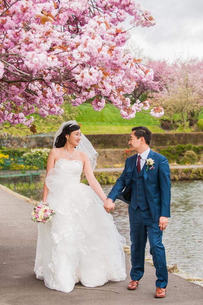 Bride and groom walking, Sheffield wedding photographer, Chinese wedding