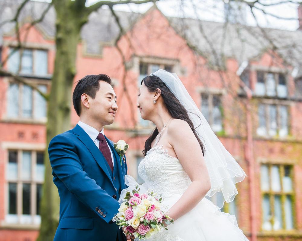 Outside University of Sheffield, Sheffield wedding photographer, Chinese wedding