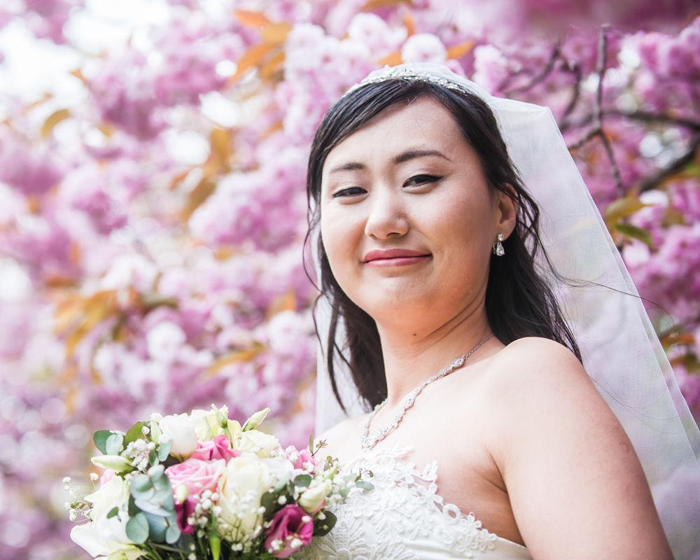 Bride and blossom, Sheffield wedding photographer, Chinese wedding