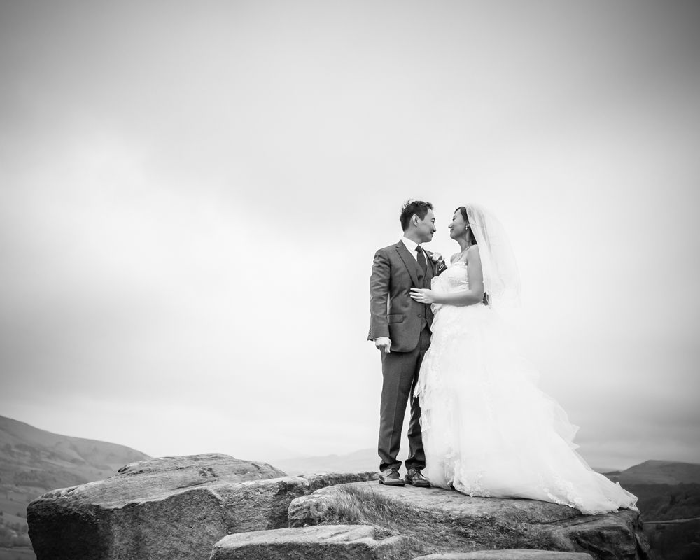 Bride and groom on rocks at Surprise View, Sheffield wedding photographer, Chinese wedding