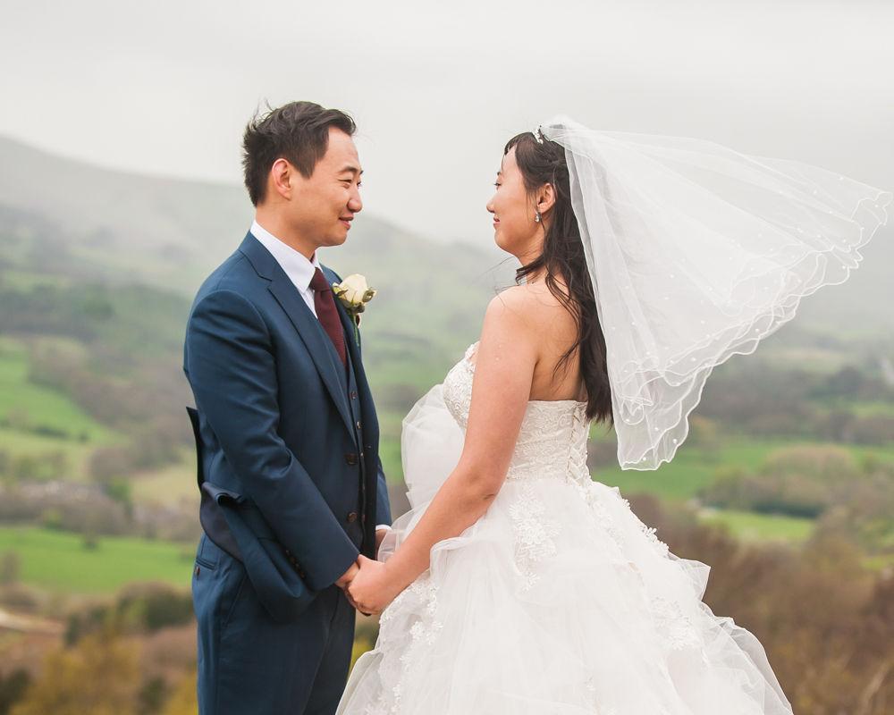 Veil blowing in wind, Sheffield wedding photographer, Chinese wedding