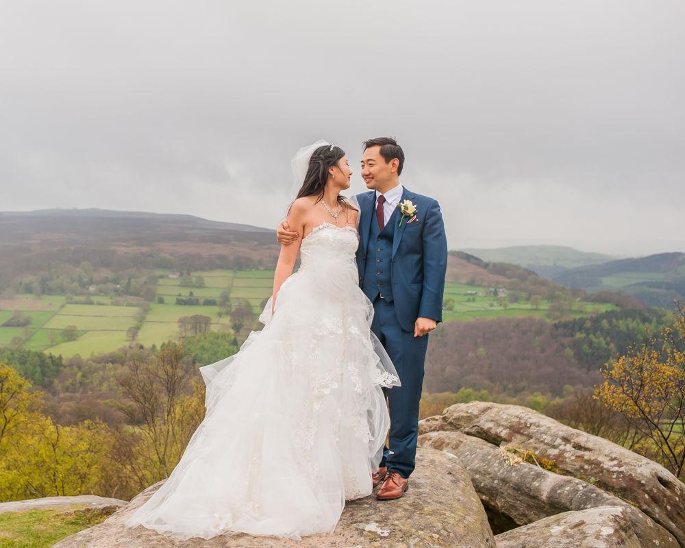 Bride and groom in Peak District, Sheffield wedding photographer, Chinese wedding