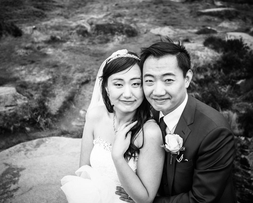 Bride and groom smiling, Sheffield wedding photographer, Chinese wedding