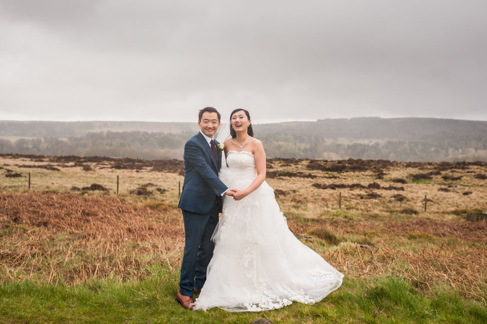The moor in the Peak District, bride and groom, Sheffield wedding photographer, Chinese wedding, Elopement wedding