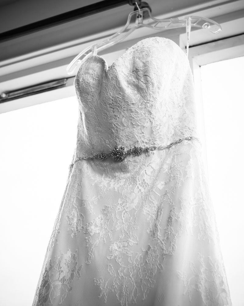 Wedding dress hanging up, Kelham Island wedding, Sheffield photographers