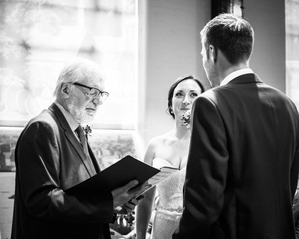Dad conducting service, Kelham Island wedding, Sheffield photographers