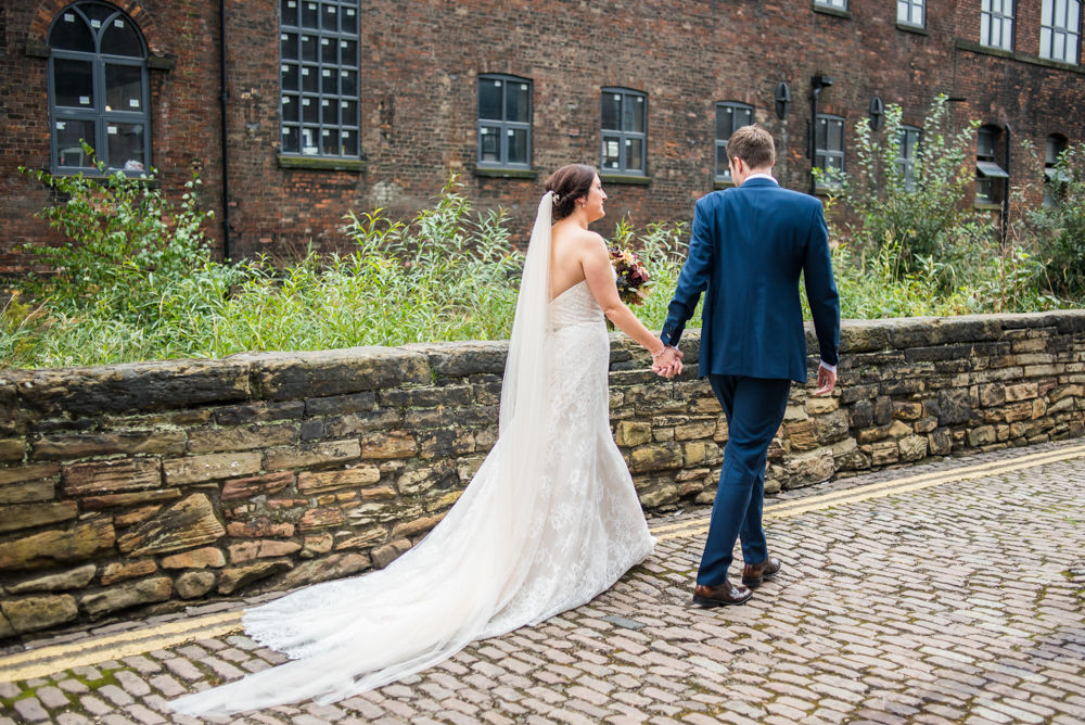 Walking in industrial quarter, Kelham Island wedding, Sheffield photographers