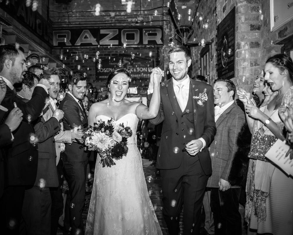 Bubbles confetti, Kelham Island wedding, Sheffield photographers