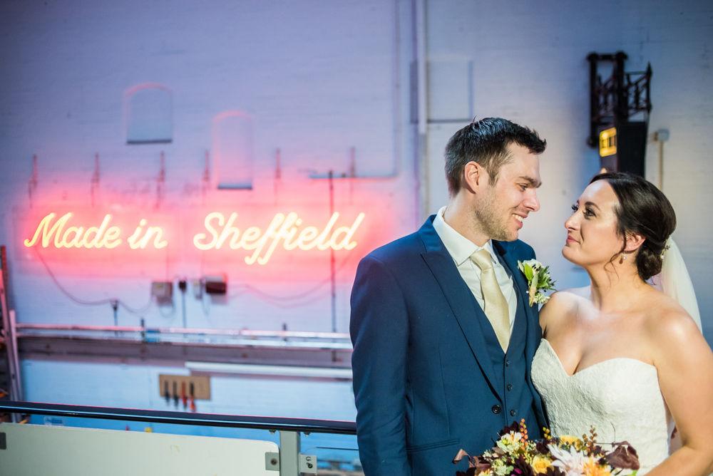 Made in Sheffield sign, Kelham Island wedding, Sheffield photographers