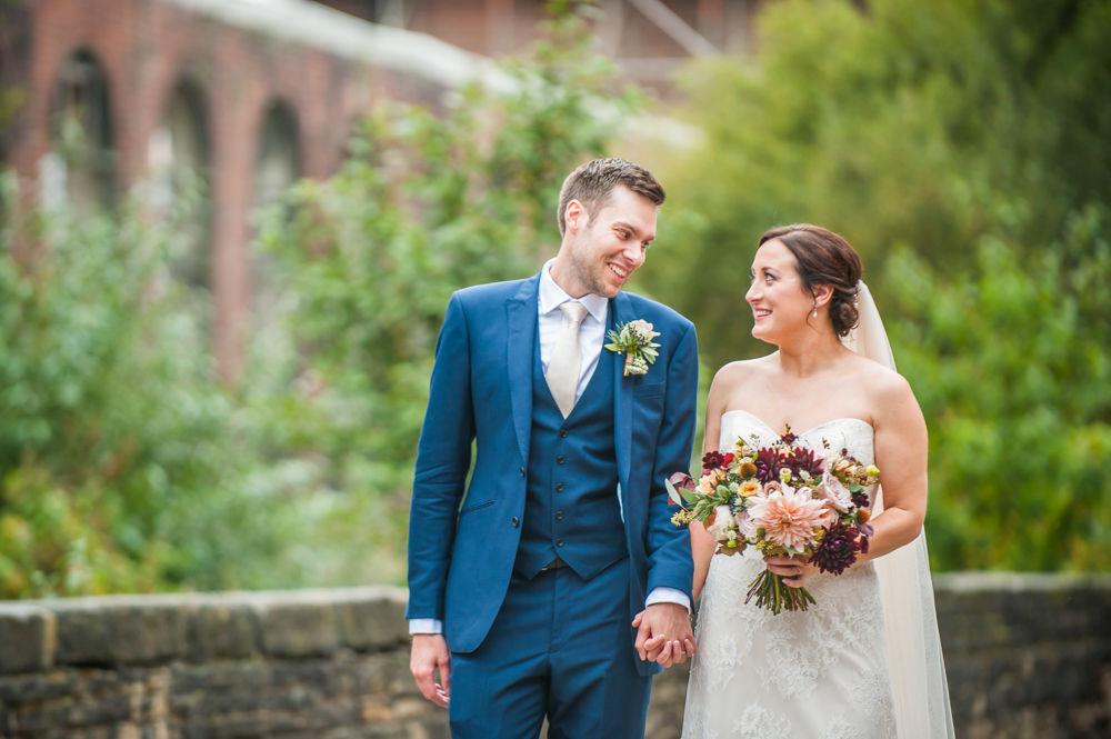 Walking outside, Kelham Island wedding, Sheffield photographers