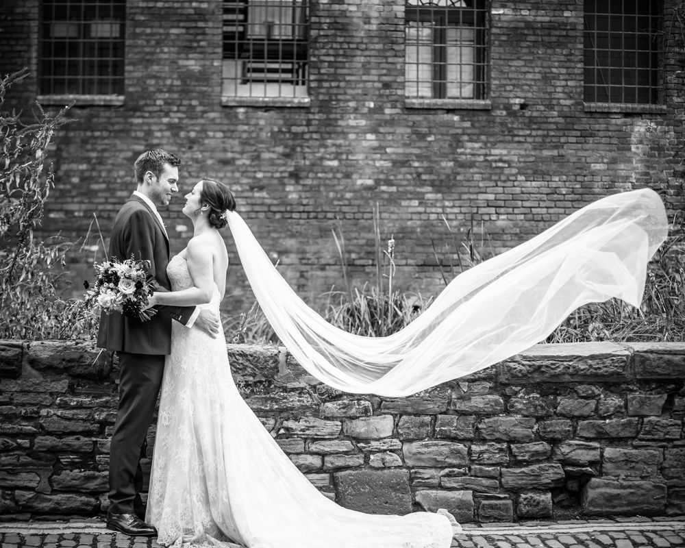 Veil blowing in wind, Kelham Island wedding, Sheffield photographers