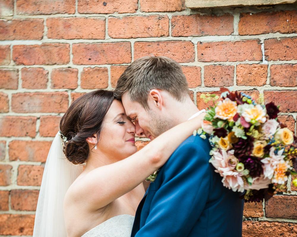 Touching heads, Kelham Island wedding, Sheffield photographers