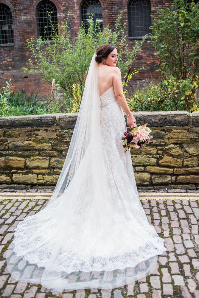 Brides dress from behind, Kelham Island wedding, Sheffield photographers