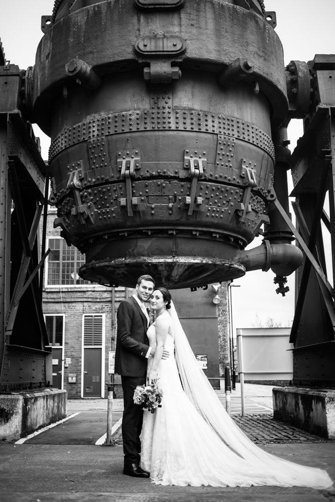 Outside cooling steel pot, Kelham Island wedding, Sheffield photographers