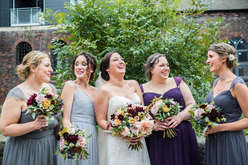 Bridesmaids laughing, Kelham Island wedding, Sheffield photographers