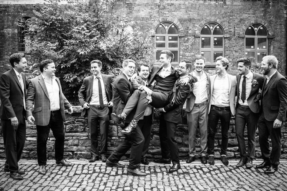 Groomsmen joking around, Kelham Island wedding, Sheffield photographers