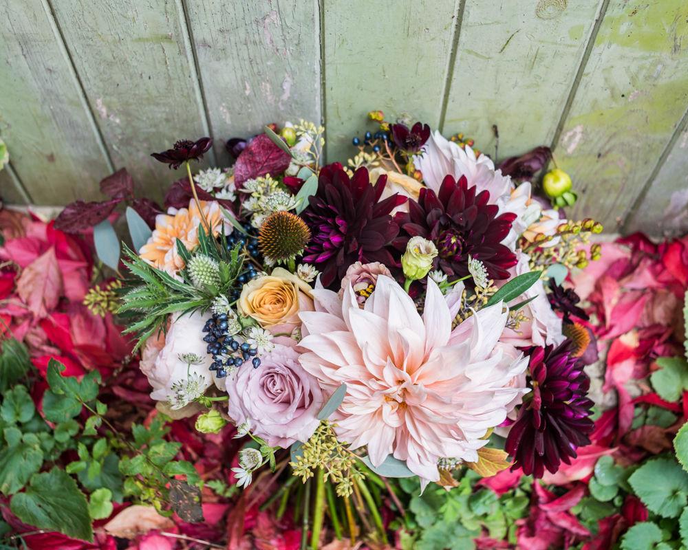 Bridal bouquet from Swallows and Damsons, Kelham Island wedding, Sheffield photographers
