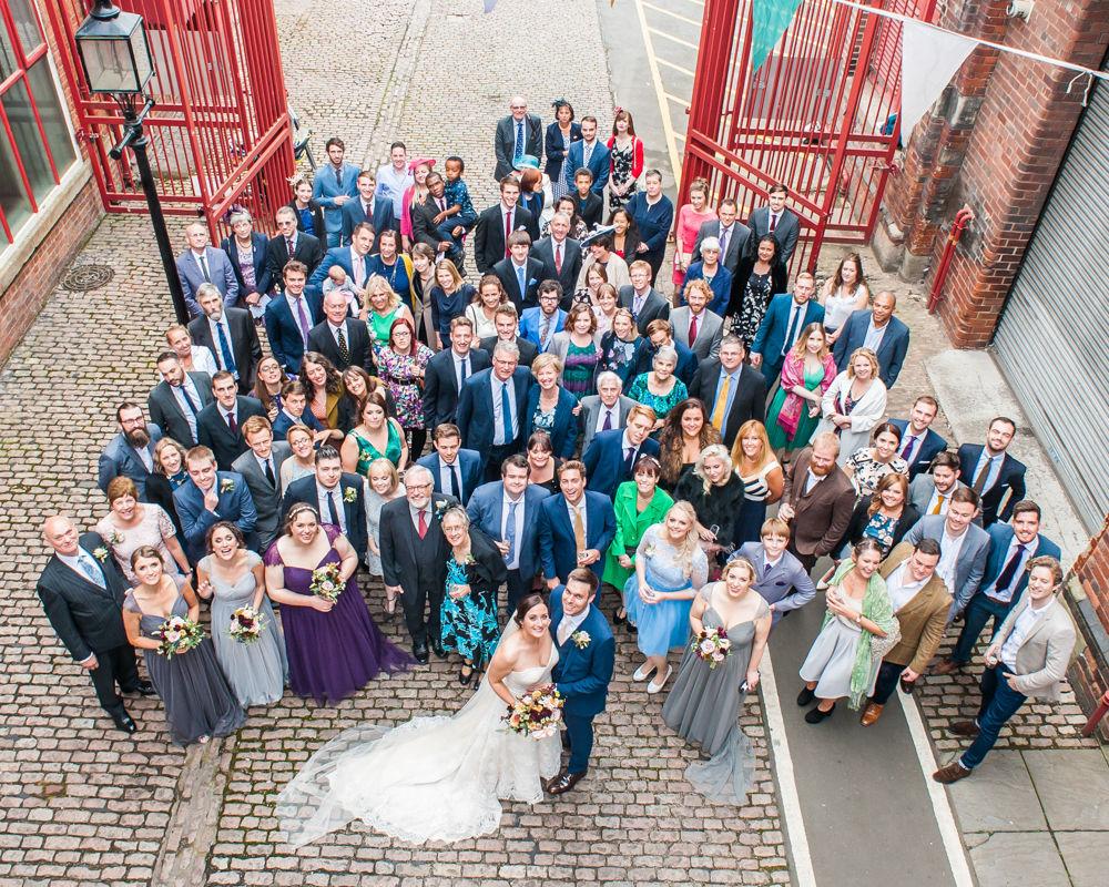Group photo from above, Kelham Island wedding, Sheffield photographers