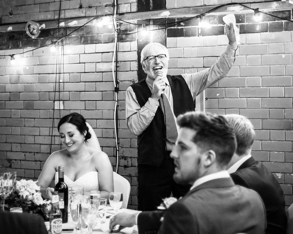 Dad's speech, Kelham Island wedding, Sheffield photographers