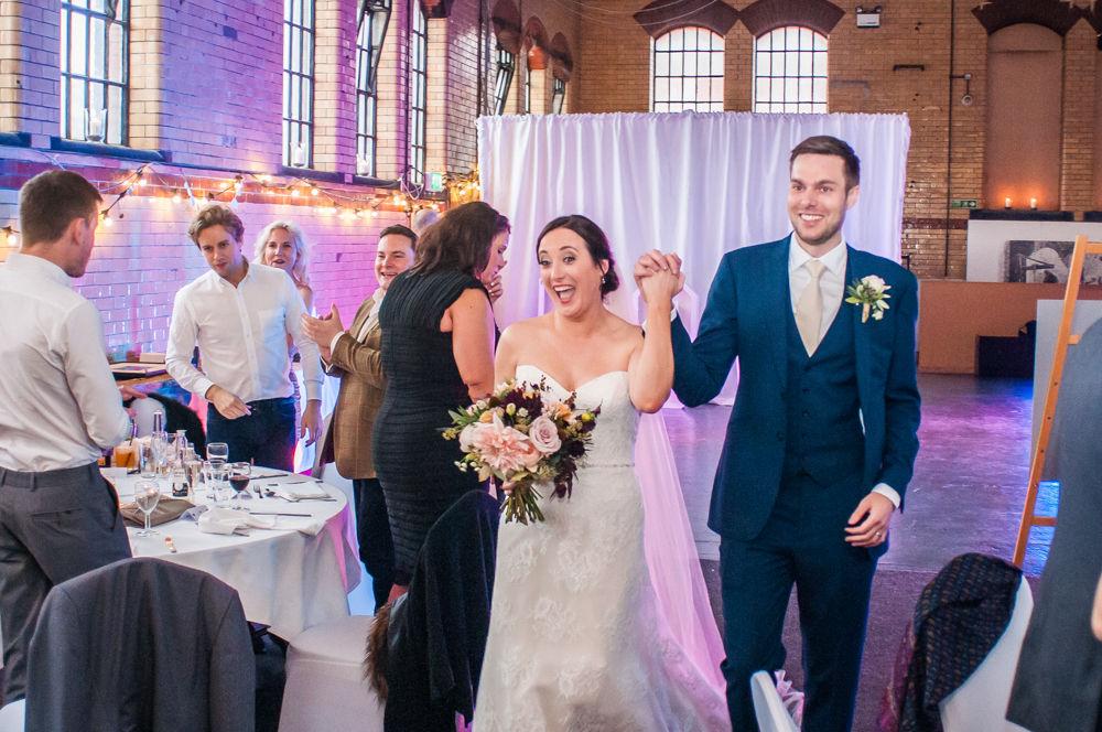 Entering reception, Kelham Island wedding, Sheffield photographers