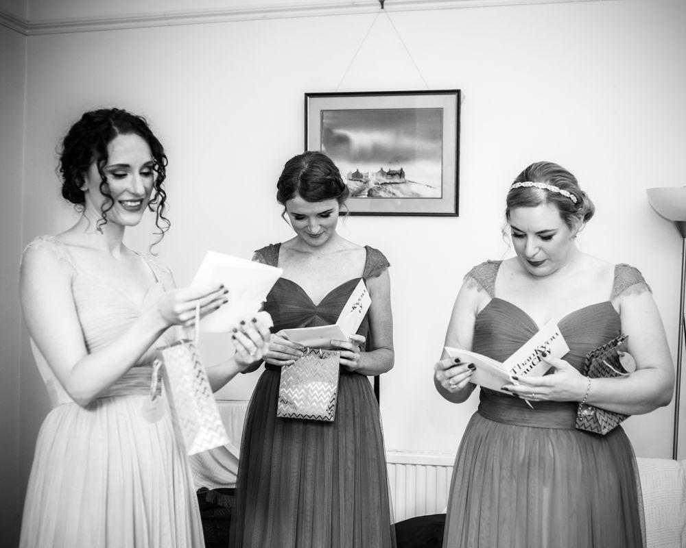 Bridesmaids reading cards, Kelham Island wedding, Sheffield photographers