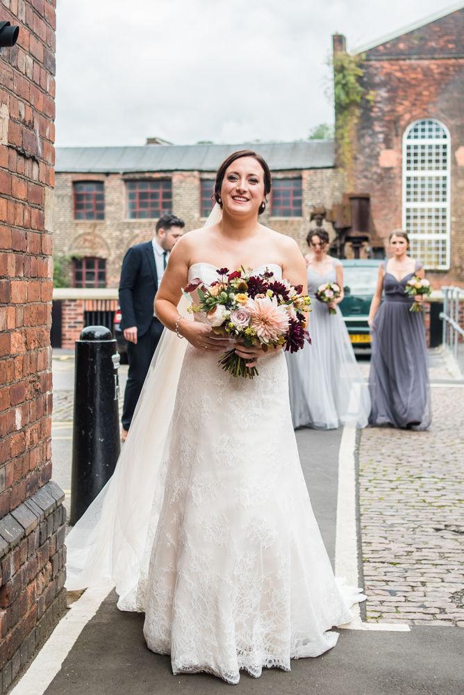 Bride arriving at Kelham, Kelham Island wedding, Sheffield photographers