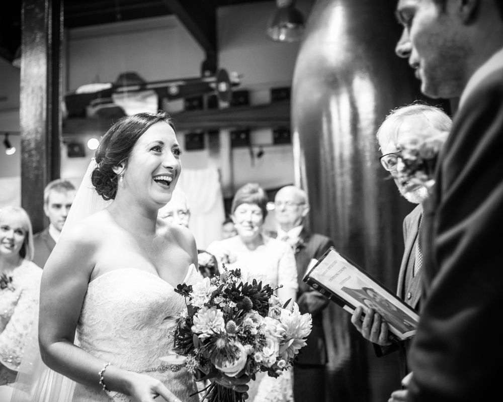 Meeting at top of aisle, Kelham Island wedding, Sheffield photographers