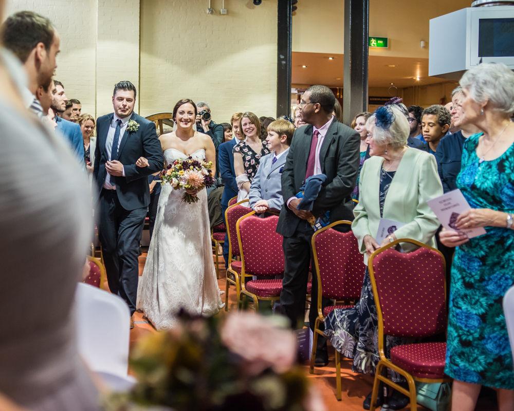 Walking up aisle, Kelham Island wedding, Sheffield photographers