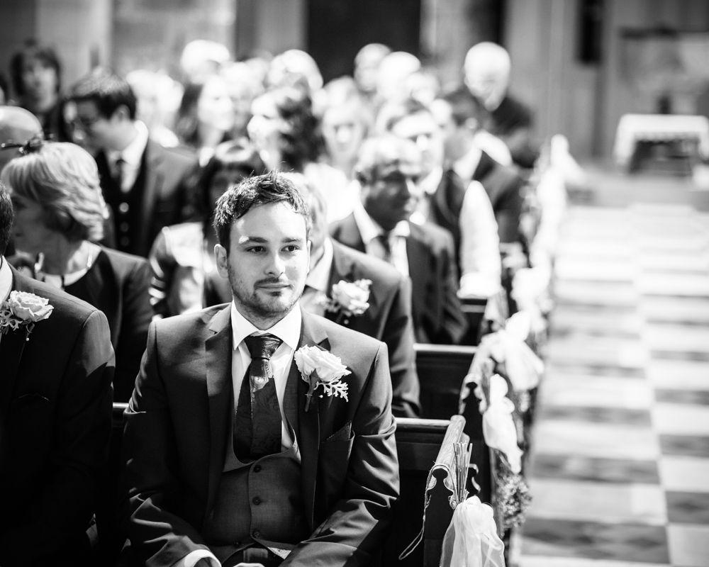 Groom waiting, St James Church, Sheffield wedding