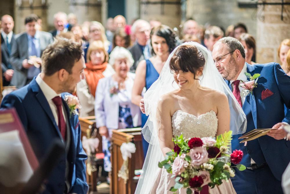 Bride meeting groom, St James Church, Sheffield wedding photographers