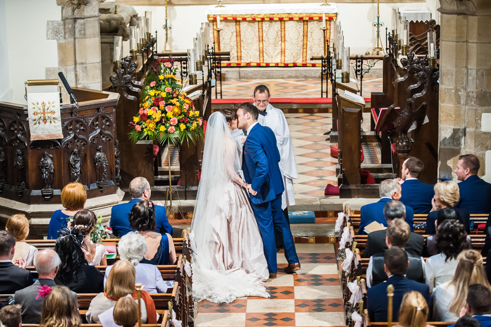First kiss, St James Church, Sheffield wedding photographers