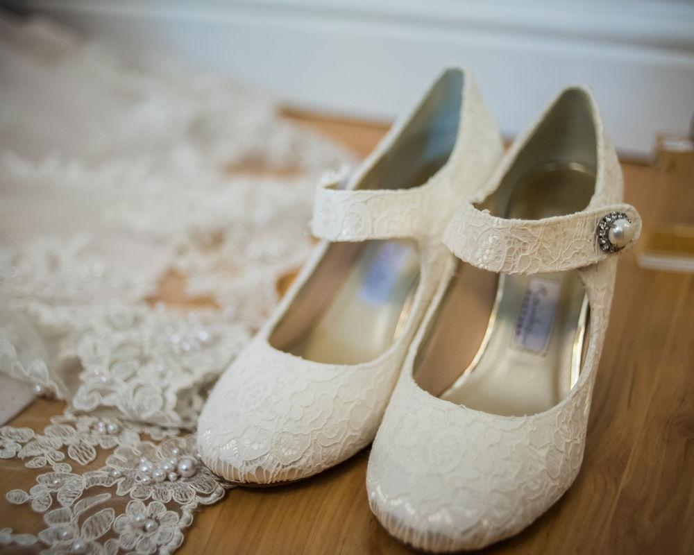 Bridal shoes, Maynard wedding, Sheffield photographers
