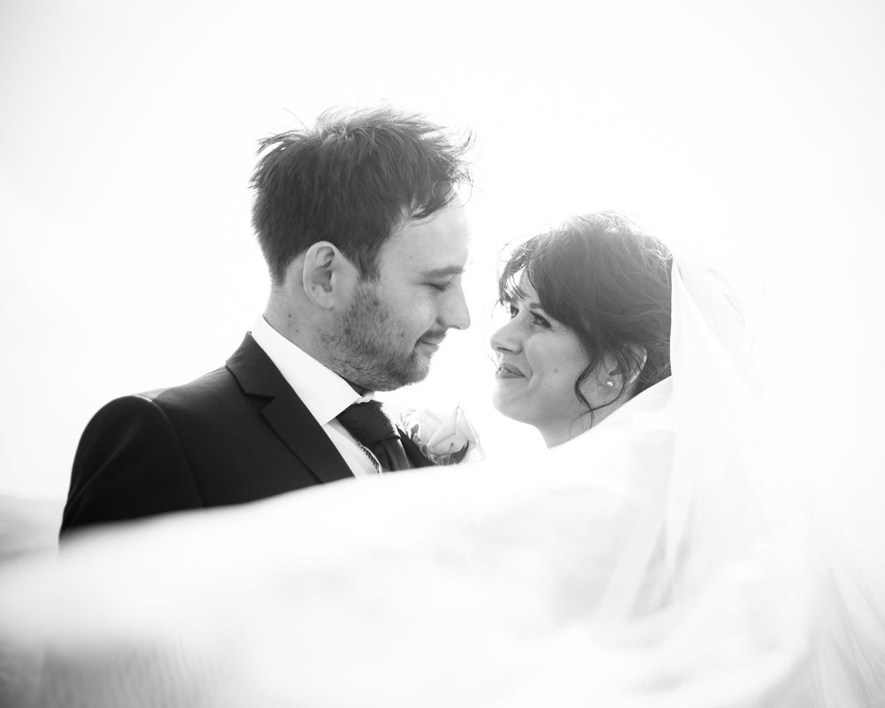 Veil blowing in wind, Maynard Arms wedding, Sheffield photographers