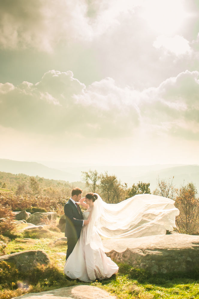 Veil and sun flare, Maynard Arms wedding, Sheffield photographers