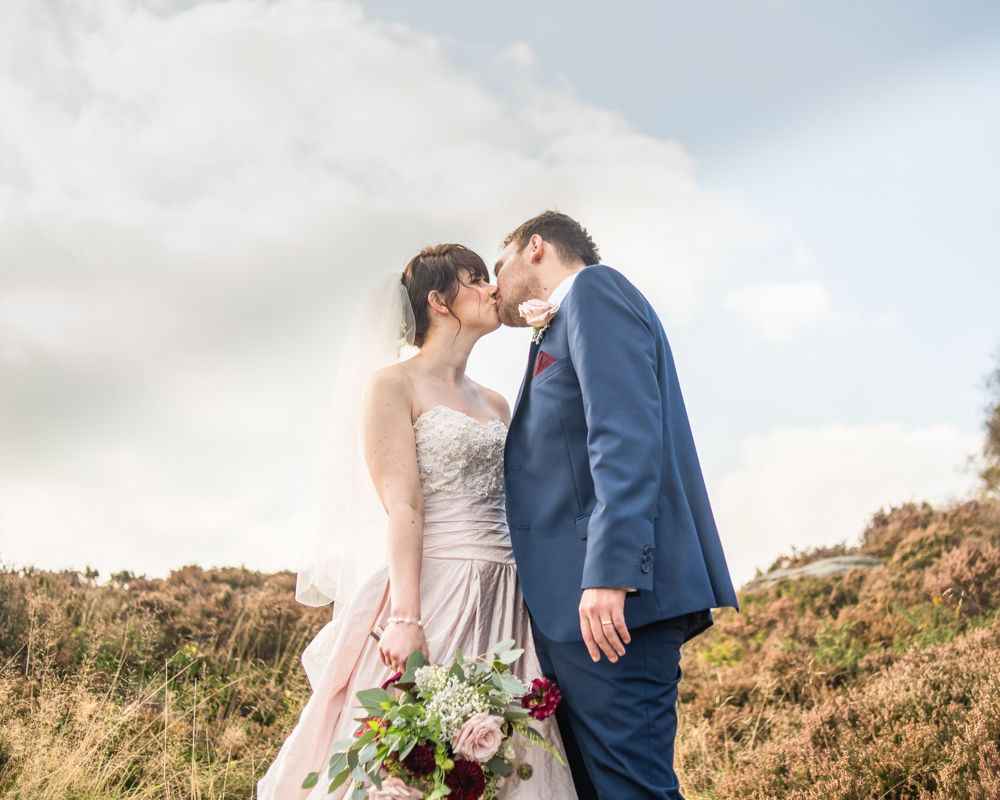 Kissing in the heather, Maynard Arms wedding, Sheffield photographers