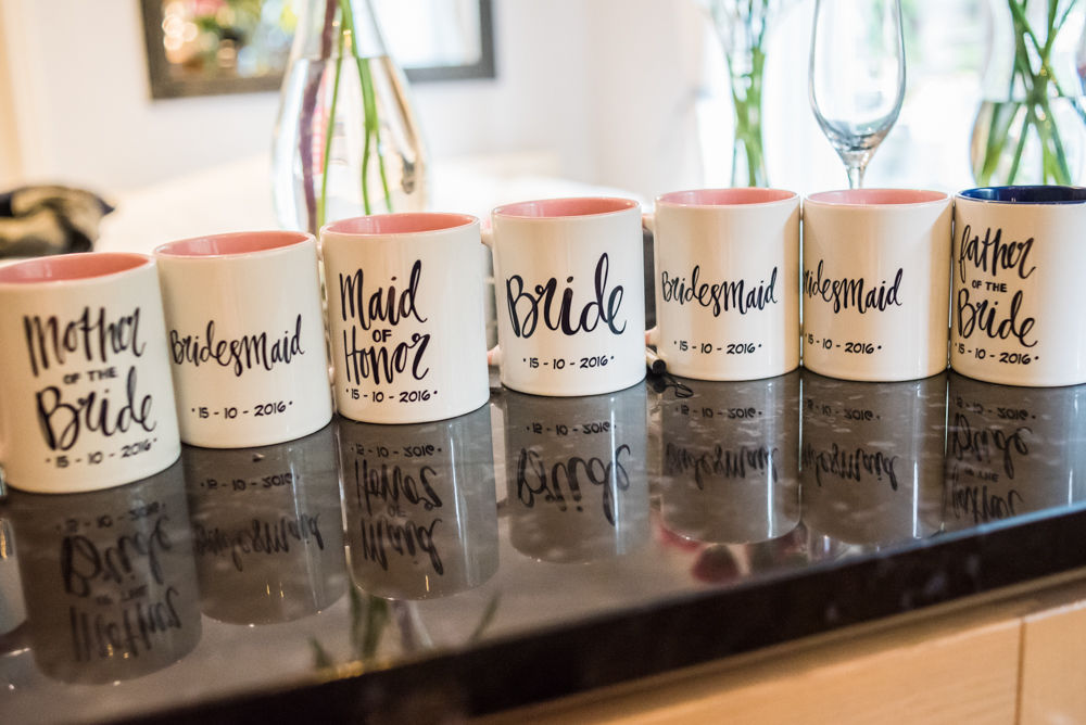 Bridal party personalised mugs, Maynard wedding, Sheffield photographers