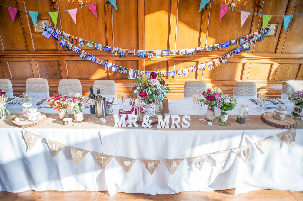 Top table details, Maynard Arms wedding, Sheffield photographers